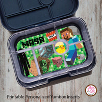 Yumbox Personalized Laminated Inserts - Minecraft - Max & Otis Designs