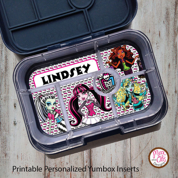 Yumbox Personalized Laminated Inserts - Monster High - Max & Otis Designs