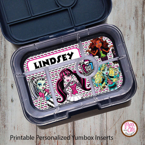 Yumbox Personalized Laminated Inserts - Monster High