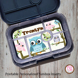 Yumbox Personalized Laminated Inserts - Owls - Max & Otis Designs