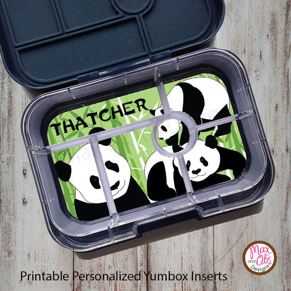 Yumbox Personalized Laminated Inserts - Panda - Max & Otis Designs