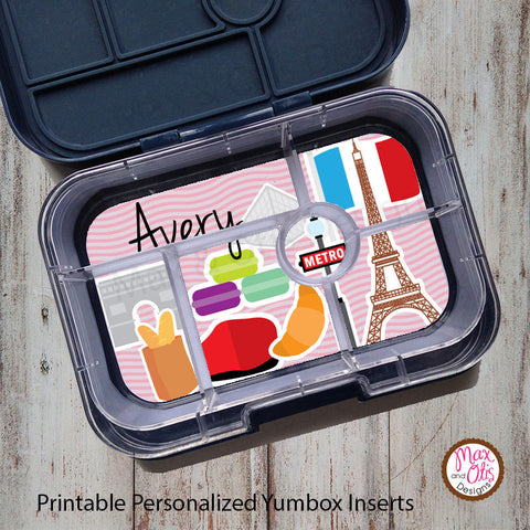 Yumbox Personalized Laminated Inserts - Paris - Max & Otis Designs