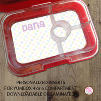 Yumbox Personalized Laminated Inserts - Polka Dot - Max & Otis Designs