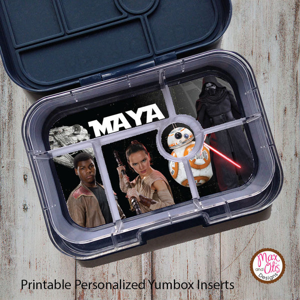 Yumbox Personalized Laminated Inserts - Star Wars VII - Max & Otis Designs