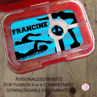 Yumbox Personalized Laminated Inserts - Swimming - Max & Otis Designs