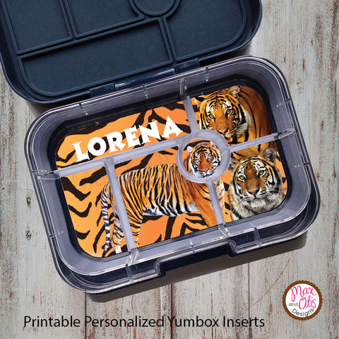 Yumbox Personalized Laminated Inserts - Tigers