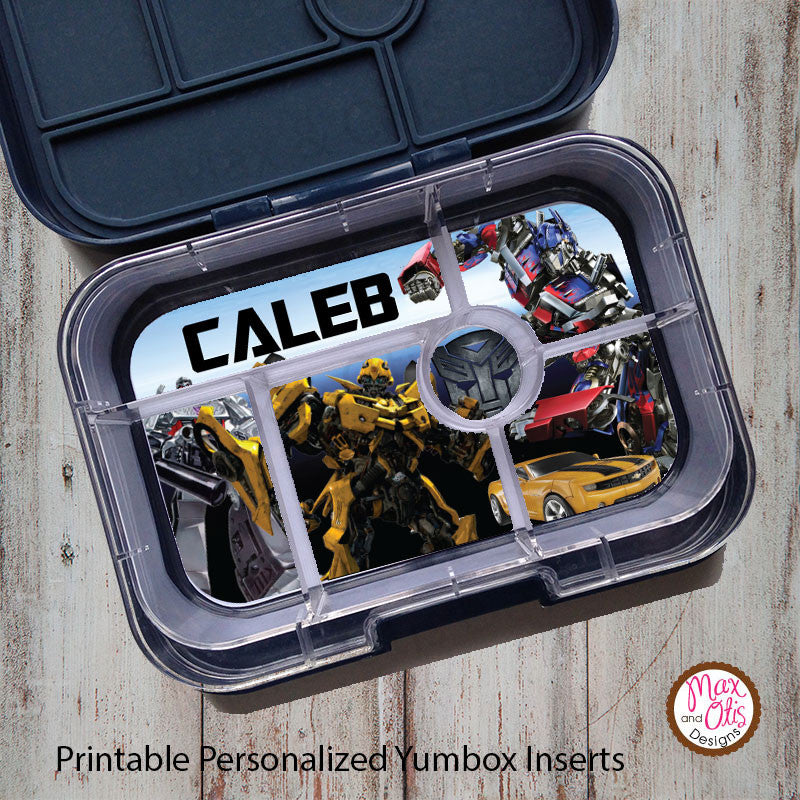 Yumbox Personalized Laminated Inserts - Transformers