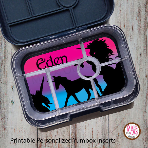 Yumbox Personalized Laminated Inserts - Unicorns