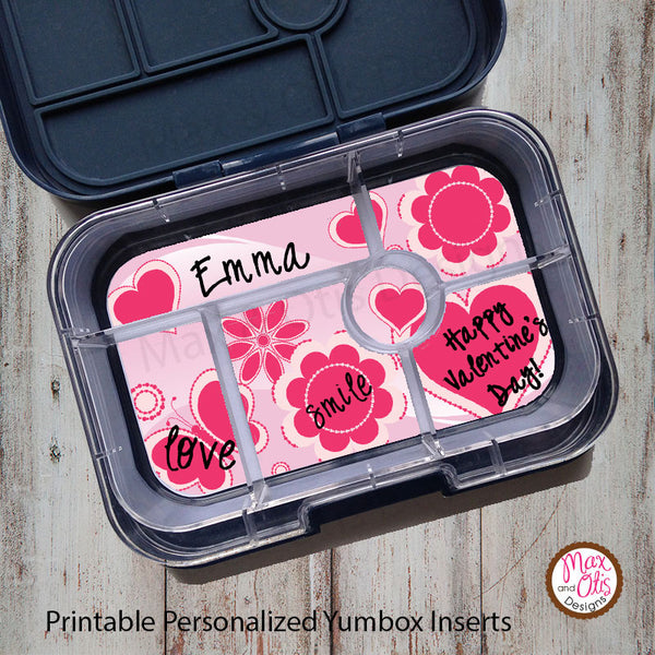 Yumbox Personalized Laminated Inserts - Valentine's Day - Max & Otis Designs