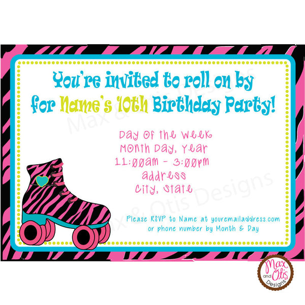 Roller Skate Birthday Party - Custom Invitation Printable - Max & Otis Designs