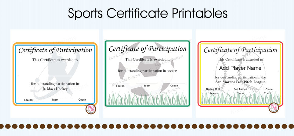 Sports Certificate Printables