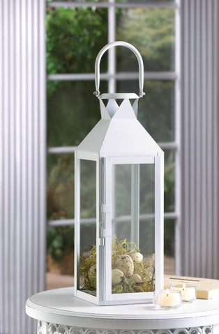 White Manhattan Candle Lantern - Distinctive Merchandise