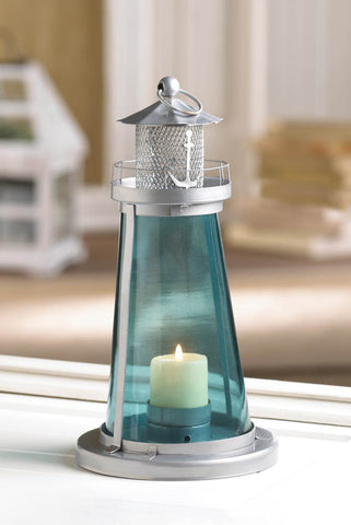 BLUE GLASS WATCH TOWER CANDLE LAMP - Distinctive Merchandise