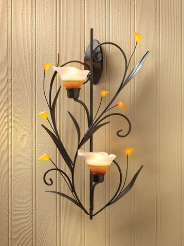 AMBER LILIES CANDLE WALL SCONCE - Distinctive Merchandise