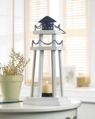 LIGHTHOUSE POINT WOODEN LANTERN - Distinctive Merchandise