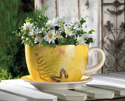 Large Garden Butterfly Teacup Planter - Distinctive Merchandise