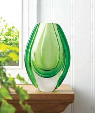 Emerald Art Glass Vase - Distinctive Merchandise