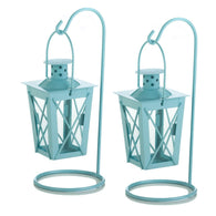 BABY BLUE HANGING RAILROAD LANTERN PAIR - Distinctive Merchandise