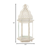 Sublime Distressed White Large Lantern - Distinctive Merchandise