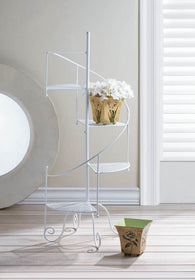 White Spiral Showcase Plant Stand - Distinctive Merchandise