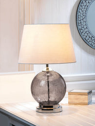 Grey Cracked Glass Table Lamp - Distinctive Merchandise