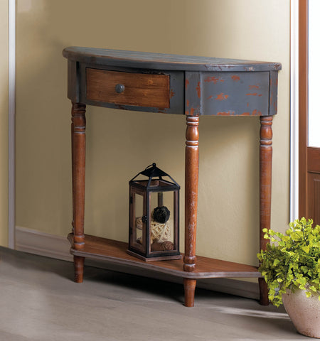 Wood Half-Moon Hall Table - Distinctive Merchandise