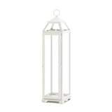 Tall Country White Open Top Lantern - Distinctive Merchandise