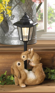 Adorable Mom And Baby Rabbit Solar Lamp - Distinctive Merchandise