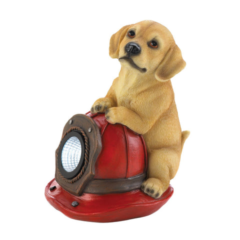 Dog And Fire Helmet Solar Statue - Distinctive Merchandise