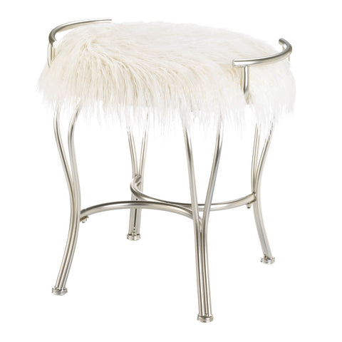 White Faux Fur Vanity Stool - Distinctive Merchandise