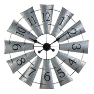 Galvanized Windmill Wall Clock - Distinctive Merchandise