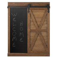 Chalkboard And Mirror With Barn Door - Distinctive Merchandise