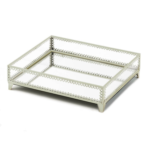 Silver Trim Glass Tray - Distinctive Merchandise