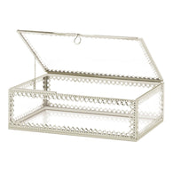 Silver Trim Glass Box - Distinctive Merchandise