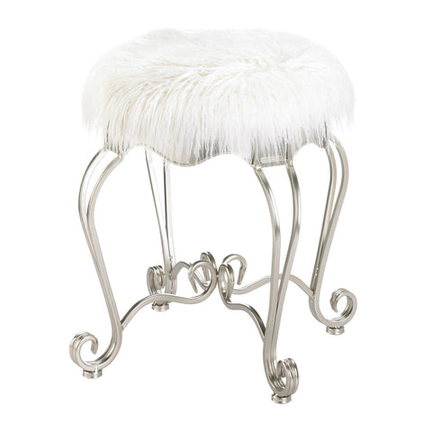 Fur Stool With Scroll Legs - Distinctive Merchandise