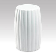 Glossy White Ceramic Stool - Distinctive Merchandise