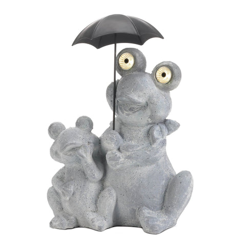 Frogs Under Umbrella Solar Decoration - Distinctive Merchandise