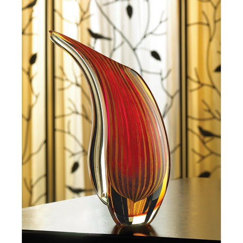 Crimson Sunset Art Glass Vase - Distinctive Merchandise