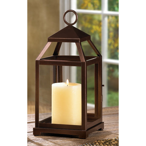 BRONZE CONTEMPORARY CANDLE LANTERN - Distinctive Merchandise