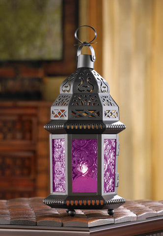 Mulberry Glass Moroccan Style Lantern - Distinctive Merchandise
