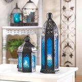 Tall Floret Blue Candle Lantern - Distinctive Merchandise