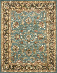 "Handmade Heritage Blue/ Brown Wool Rug (9'6"" x 13'6"") - Distinctive Merchandise"