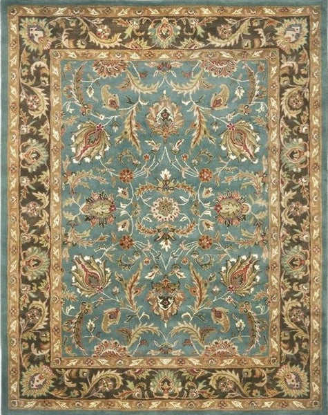 "Handmade Heritage Blue/ Brown Wool Rug (9'6"" x 13'6"")"