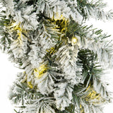 24 Inch Pre Lit Flocked Faux Pine Holiday Wreath with 50 White LED Lights - Distinctive Merchandise