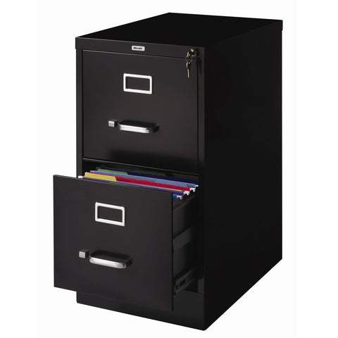 2-Drawer Vertical Filing File Cabinet with Lock in Black Metal - Distinctive Merchandise