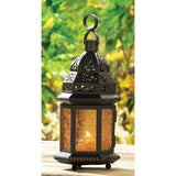 Large Yellow Glass Moroccan Lantern - Distinctive Merchandise