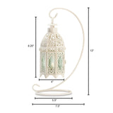 WHITE FANCY CANDLE LANTERN WITH STAND