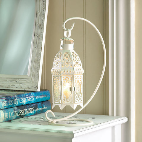 White Fancy Candle Lantern With Stand - Distinctive Merchandise
