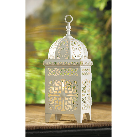 White Scrollwork Candle Lantern - Distinctive Merchandise