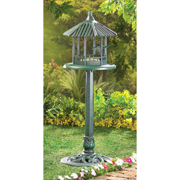 Verdigris Gazebo Standing Bird Feeder - Distinctive Merchandise